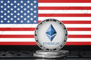 ETHEREUM (ETH) cryptocurrency; physical concept ethereum coin (token) on the background of the flag of United States of America (USA)